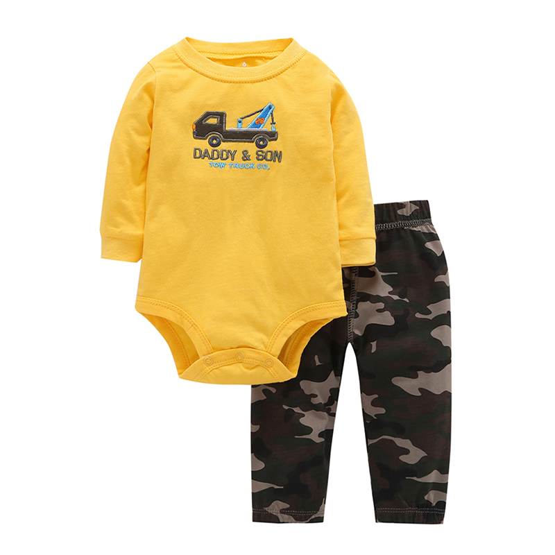 fashion 2018 baby clothes set cotton long sleeve bodysuit truck embroider+pant camouflage for 6-24M BABY BOY 2PCS new born gift