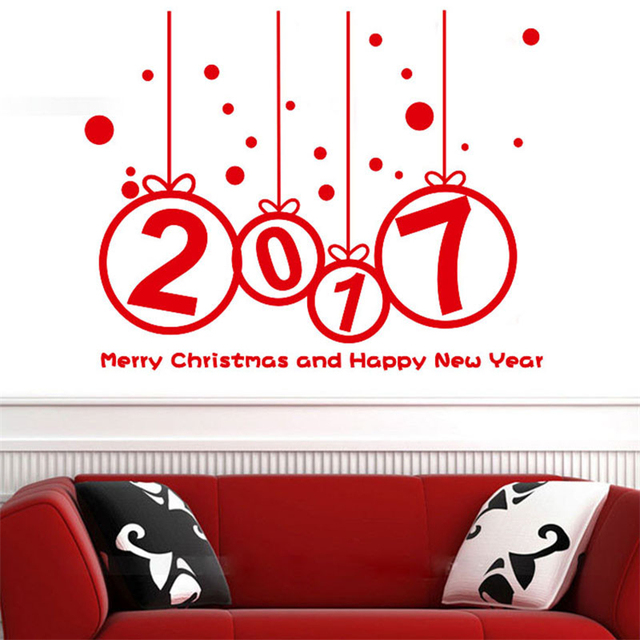 Happy new year 2017 merry christmas wall sticker home shop windows decals decor removable household window