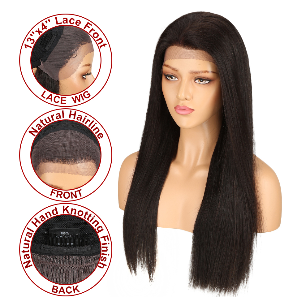 Sleek Straight Lace Human Hair Wigs For Black Women Brazilian 13x4 Lace Frontal Wig With Baby Hair  Free Shipping