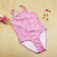 2016 Kids One Piece Swimsuit Girls Swim Suit Children Swimwear Pink POLYAMID Cross Back Maillot With Briefs Bottom