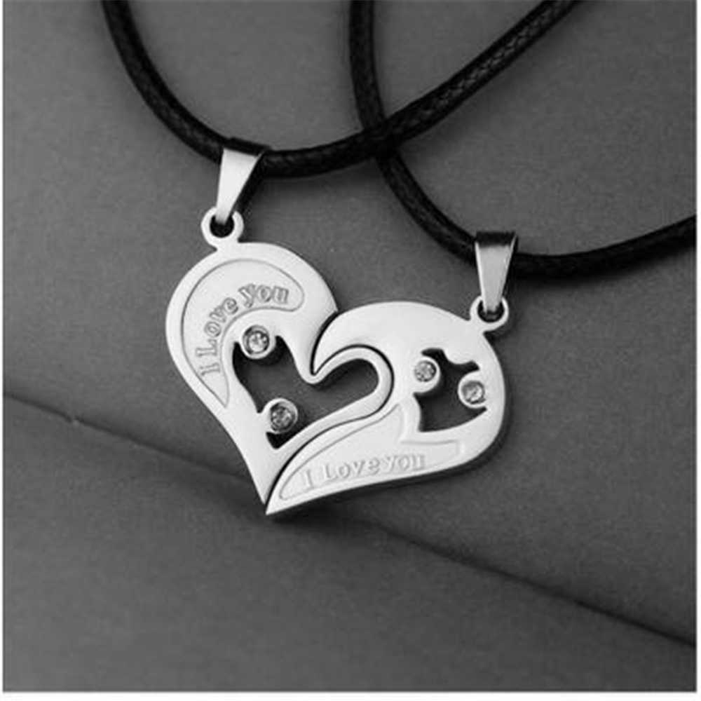 2pc Mens Womens Couple Necklac Love Heart Stitching Pendant Puzzle Matching Two Halves Heart for Lovers Memorial Day Gift