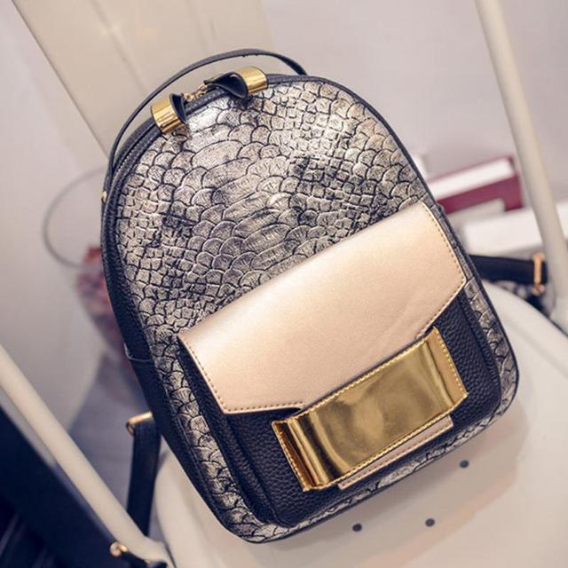 054868687ea 2018 Summer Brand New Snake Grain PU Leather Women Backpack Female Fashion  Rucksack Brand Designer Ladies