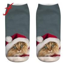 e18f27e7b5c Feitong chaussettes fantaisie Femmes Filles Kawaii Causal 3D Animal Chat  short imprimé Chaussettes Mignon Low Cut