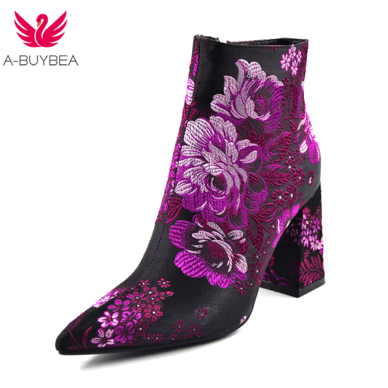 2018 Spring/Autumn New Women Brand Shoes Fashion Embroidery 9cm High Heel Pointed Toe Floral Ankle Boots Square Heels boots