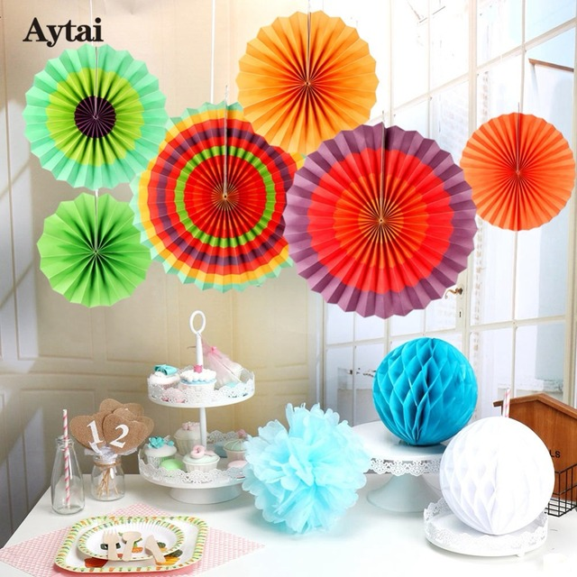 aytai 6pcs paper fan mexican fiesta party paper fan flowers decoration paper fan backdrop party diy