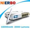 NIERBO 1080 P Проектор Интерактивное Обучение Домашний Кинотеатр Видеопроектор 15000 мАч Батареи 2000 Люмен Android Bluetooth Беспроводной