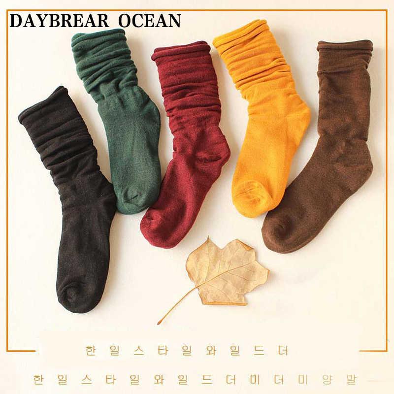 אופנה מקרית חמוד סוכריות צבעים נשים גרביים רחב פה רך נוח כותנה גרבי בנות סתיו החורף חמים ארוכים