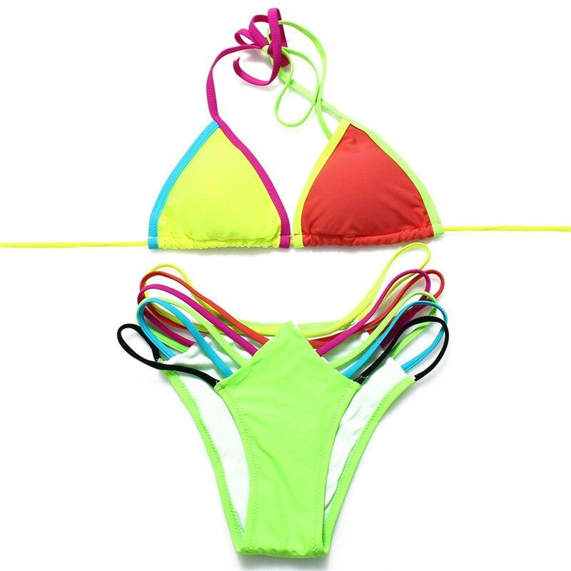Fürdőruha nők Bikini beállítása nyári szexi strand úszás viselet Női fürdőruha Push Up Bikini színes csíkos alsó fürdőruha