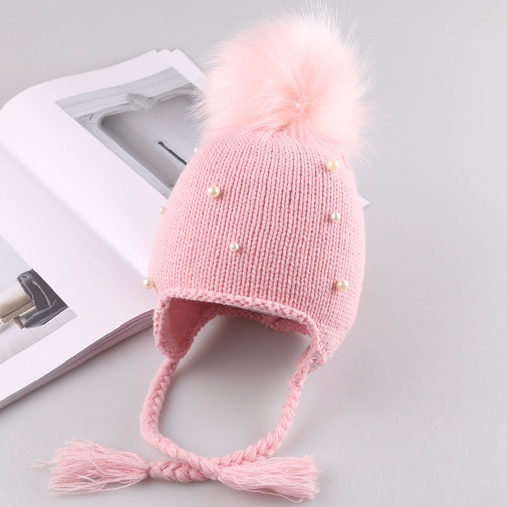 47eb0e050 US $3.02 22% OFF|Aliexpress.com : Buy Puseky Baby Winter Hat Fur Pompom  Caps bonnet enfant Toddler Boys Girls Knitted Cap Cotton Protect Ears Hats  ...