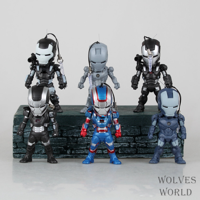 Iron Man 3 Tony Stark MK4 MK42 MK6 Light & Action Figure War Mechine Iron Patriot Collectible Figure Toys 6pcs/set Free shipping 1set hot toys hottoys ht mms209 1 6 iron man tony stark the mechanic collectible figure specification new box in stock