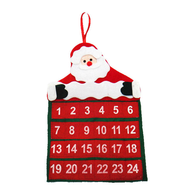 Новый Рождественские Украшения для Дома, Календарь 2016 Календарь Адвента Рождественская Елка Орнамент Санта-Клауса Висит Баннер для Дома