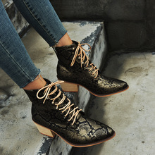 2019 Women Ankle Boots Women Sexy Leather High Heels Boots Brand Design Waterproof Lace Up Autumn Boots Botas Plus Size 35-43 plus size 35 46 high quality ankle women boots sping autumn flats lace up women work