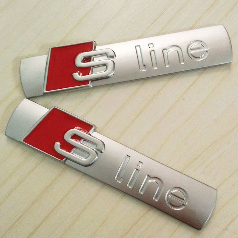 OTOKIT 3D Metal Car S line Sticker Cover for Audi Sline Logo A3 A4 A5 A6 Q3 Q5 Q7 B7 B8 C5 S6 Auto Car Decal Accessories Styling