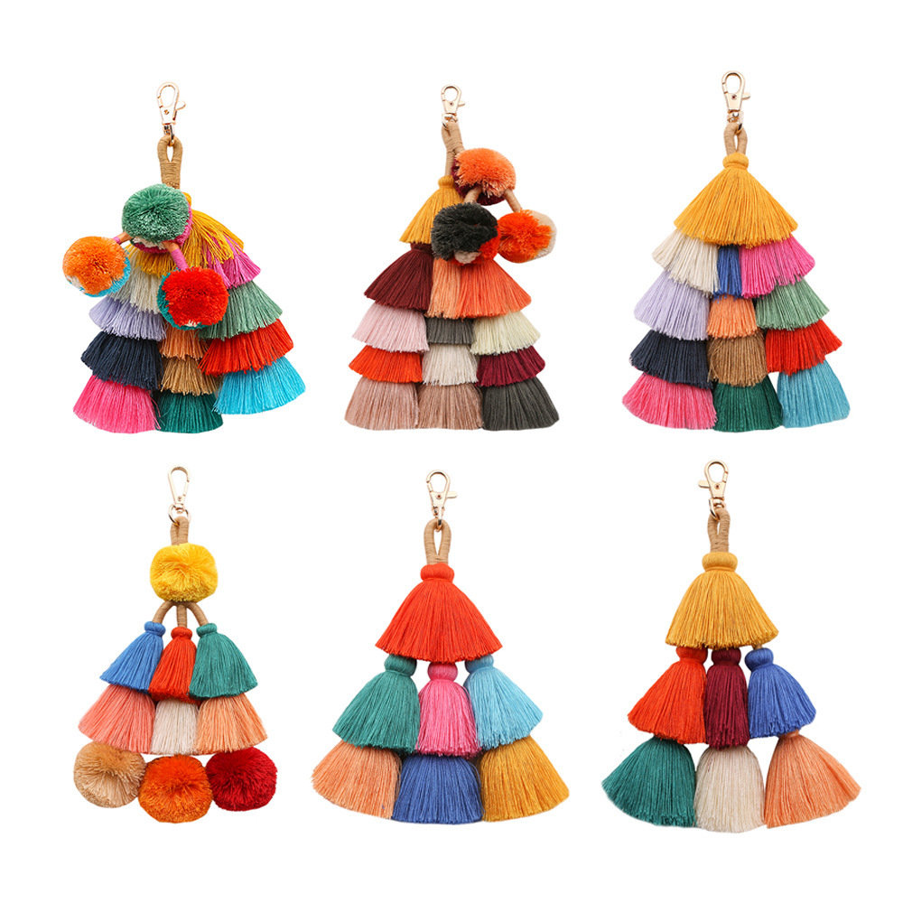 Bohemian Tassel Pendant Keyring Handmade Hair Ball Accessories Women Creative Pompom Bag Tassel Keychain For Women Wholesale