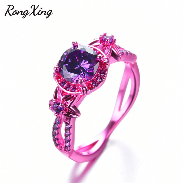 RongXing Vintage Fashion Flower February Birthstone Rings for Women Pink  Gold Filled Purple CZ Ring Wedding