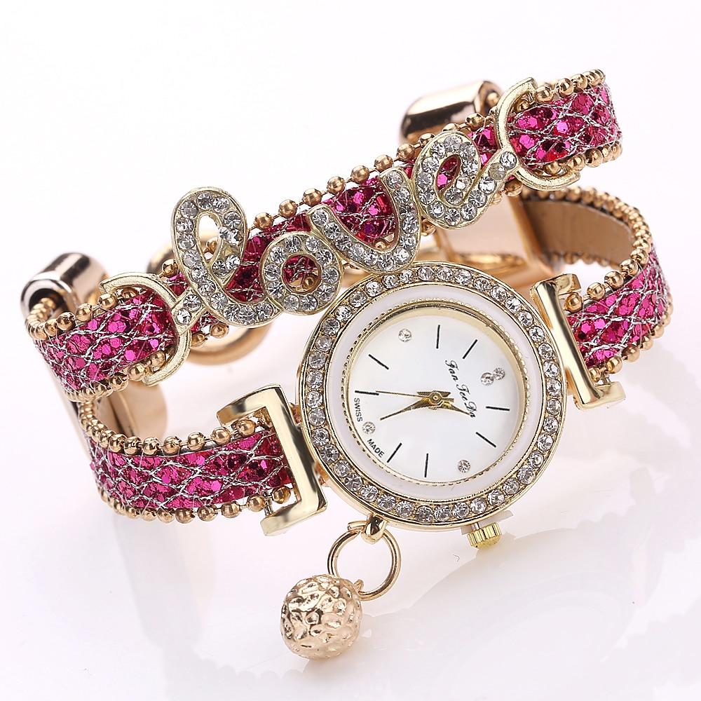 ... Top Brand Women Bracelet Watches Ladies Love Leather Strap Rhinestone  Quartz Wrist Watch Luxury Fashion Quartz Watch. Movement  quartz watch 39d8ed3b88b1