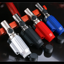 Four-Hole Super Jet Flame Rotatable 1300-C Butane Turbo Torch Cigar Lighter NO GAS Random Color