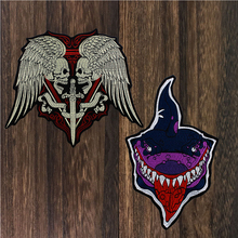 1pc Embroidery Wings Skull Shark Patch Motorcycle Patch Biker Badge Punk Large Embroidered Iron on Patches for Clothes TH1533