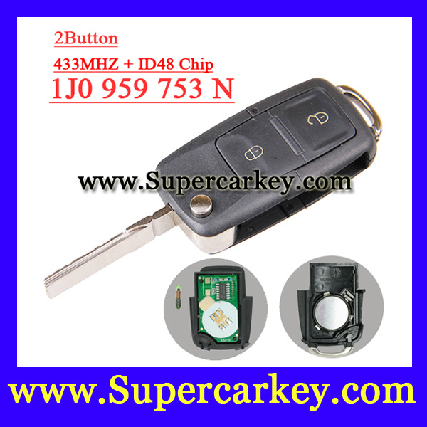 Free shipping 1 PCS 1j0 959 753 N 1j0 959 753N 2 button Flip REMOTE KEY