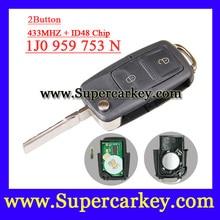 Envío gratis ( 1 unids ) ( 1j0 959 753 N) 1j0 959 753N 2 botón Flip clave remota transmisor para 1998-2000 VW PASSAT GOLF MK4