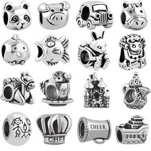 Gratis verzending 1 pc 925 auto varken familie chef vis muis big hole bead charm Past Europese Pandora Bedel Armbanden mix022(China)