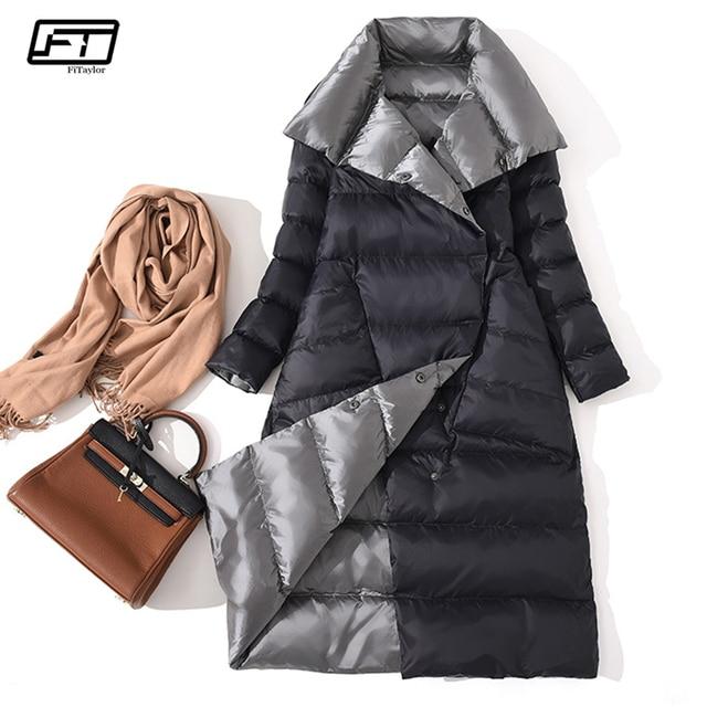 Fitaylor Phụ Nữ Hai Mặt Xuống Dài Áo Khoác Mùa Đông Cao Cổ Màu Trắng Vịt Xuống Áo Đôi Ngực Ấm Parkas Tuyết Outwear