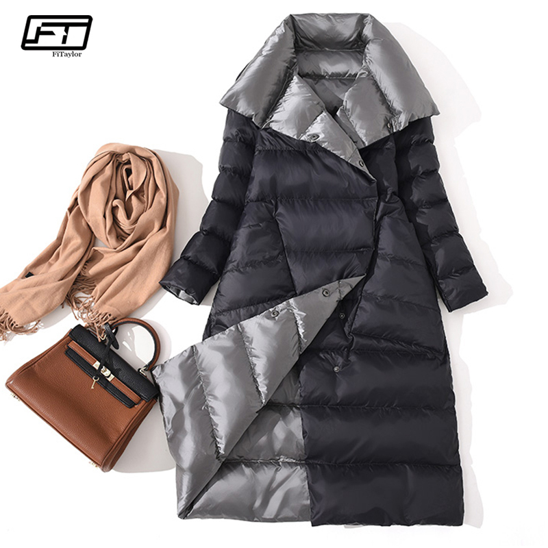 Fitaylor  Women Double Sided Down Long Jacket Winter Turtleneck White Duck Down Coat Double Breasted Warm Parkas Snow Outwear-in Down Coats from Women's Clothing    1