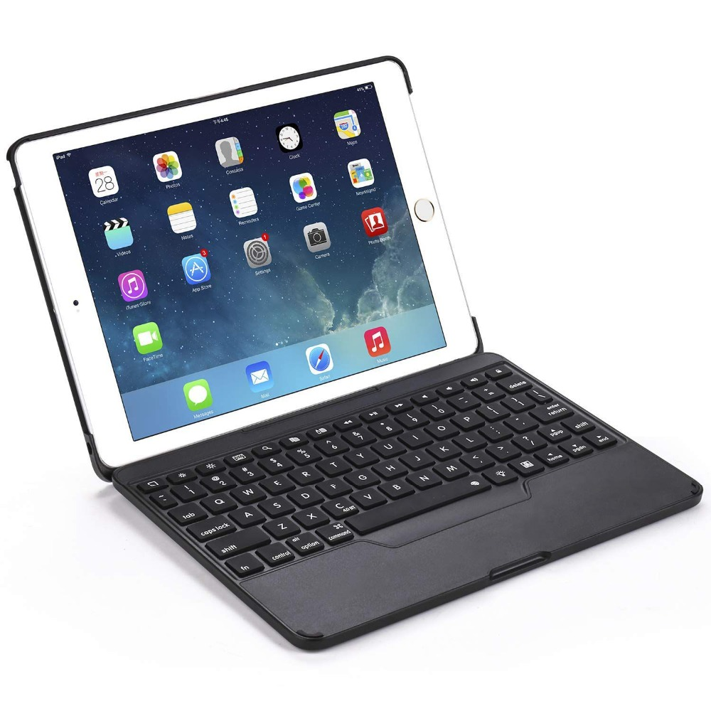Black Color Wireless Bluetooth Keyboard For iPad 9.7 Case with Keyboard [Detachable] for iPad Fully Protective Smart Cover willettt 460 keyboard display black color