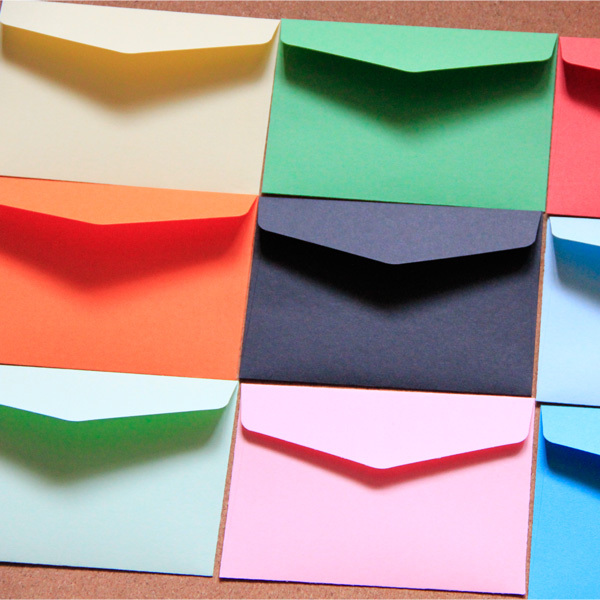 Colored Envelopes 11x8cm 13 Color Paper Envelope 100Pcs Bank Card / Membership Card Custom Envelopes