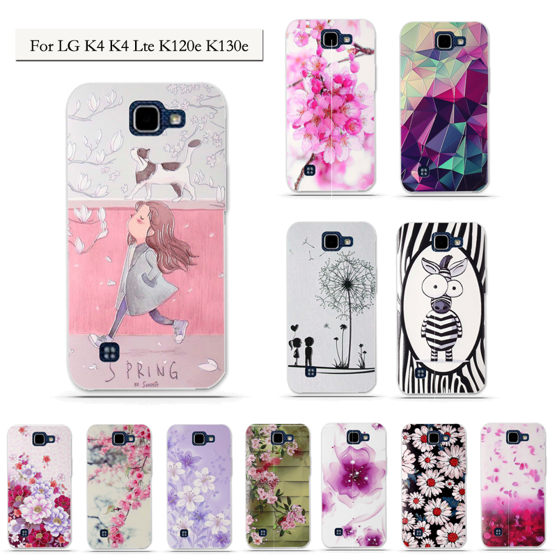 Soft TPU Silicone Back Case for <font><b>LG</b></font> <font><b>K4</b></font> <font><b>cover</b></font> For <font><b>LG</b></font> <font><b>K4</b></font> Lte K120e K130e K 4 <font><b>Cover</b></font> Luxury 3D Relief Printed Protective Phone Case image