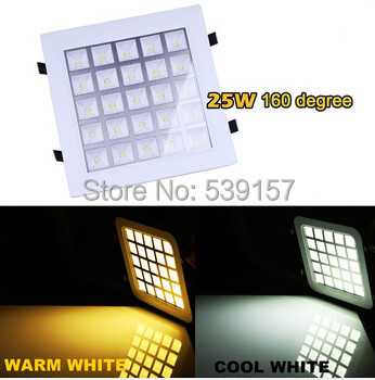 Free Shipping 25W Warm White/Cold White led GRID Panel Light 2750LM Square LED Ceiling Wall Light Recessed Down light  AC85-265V wbr 0007 cob 680 750lm 7w 85 265v rotatable led warm white ceiling down light cold forging aluminum