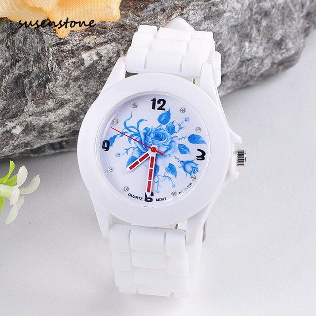 Susenstone Brand Women Watch Silicone Rubber Jelly Blue Floral Ladies Casual Bra