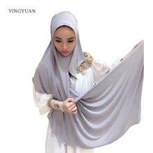 0TJ57 180*70 cm Solid Gemakkelijk Hijab Vrouwen Van Sjaals Moslim Hijaabs Hoge Kwaliteit Hijab Mooie Mode Sjaal Cap (with1 Undescarf