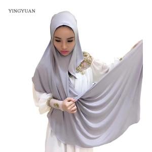 Image 2 - 1TJ57 24PCS מוצק קל חיג אב נשים של צעיפים המוסלמי Hijabs באיכות גבוהה חיג אב יפה אופנה צעיף כובע (with1 undescarf