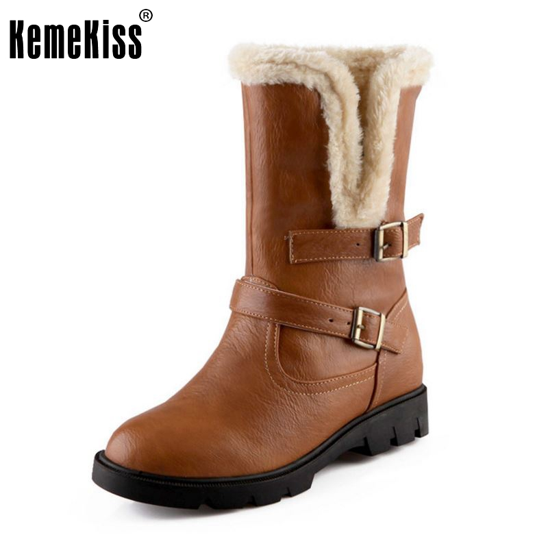KemeKiss Size 34-39 Women High Heel Mid Calf Boots Two Method Winter Warm Snow Botas Half Short Gladiator Boot Footwear Shoes