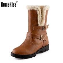 Kemekiss размеры 34–39 Для женщин на высоком каблуке ботинки до середины икры два метода зима теплая Зимние боты полуботинки ботинки-гладиаторы обувь
