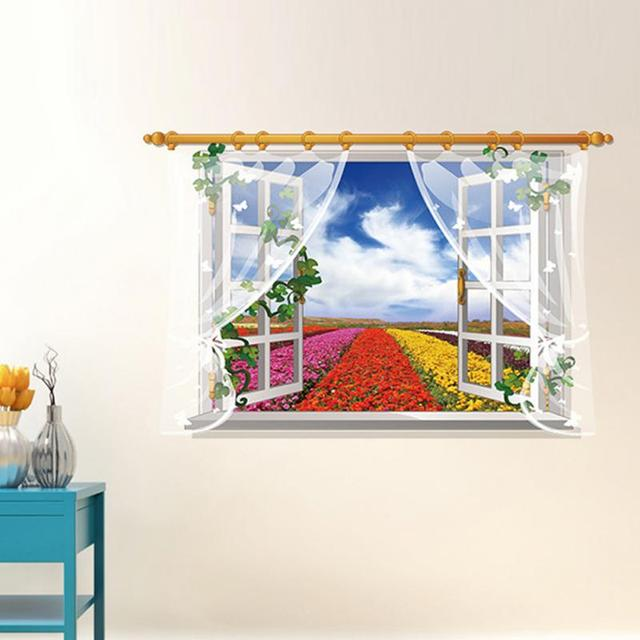 US $3.23 5% OFF|3D Window View Decal Wall Sticker Decor Art Mural Scenery on nature games, nature home ideas, nature interior design, nature beauty, nature home furniture, nature animals,