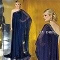 Royal Blue Arabic Evening Dresses 2016 New Fashion Dubai Abaya Kaftan One Shoulder Floor Length Mother of the Bride Dresses