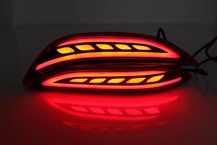 eOsuns LED warning light + brake light + turn signal rear bumper light driving reflector for Honda City 2014-16, tail light eosuns led side turn signal reflector
