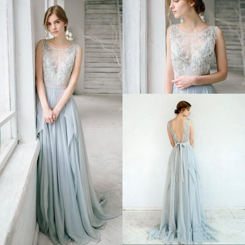 965389f08b US $92.07 7% OFF|2018 Beautiful Silver Grey Bohemian Wedding Gowns Sexy  Illusion Lace Embroidery Beaded Chiffon Backless Romantic Bridal Gowns-in  ...