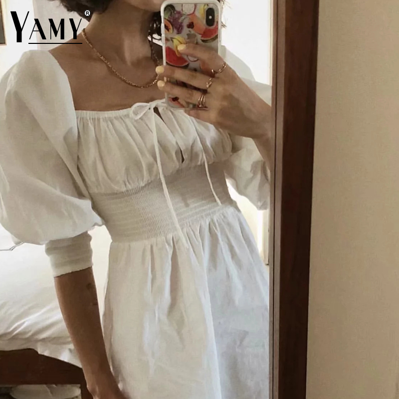elegant lace up backless white dress women slim waist square collar party desses Summer long sleeve casual beach dress 2018