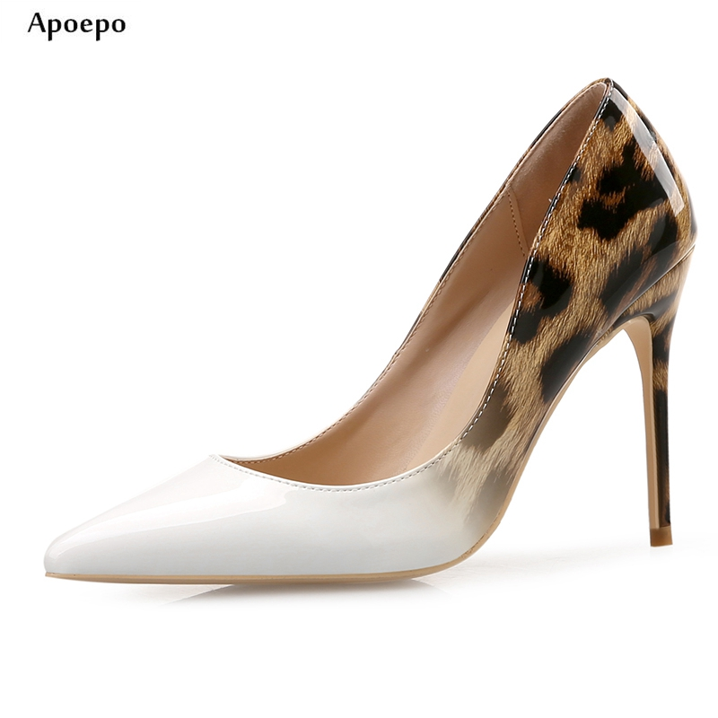 Фотография Apoepo Fashion Wedding Heels 2018 Office Lady Dress Shoes Sexy Pointed Toe Leopard Printed High Heel Shoes for Woman