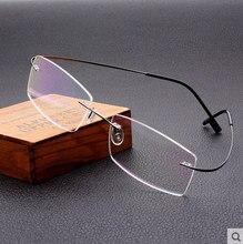 Metal con memoria hombres / mujeres negocio gafas de aleación de titanio sin montura miopía óptica lente de la prescripción sólo 7 g