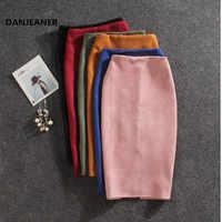 Danjeaner Neue Frauen Röcke Sommer Plus Größe Knie-Länge Bleistift Rock Weibliche Vintage Wildleder Split Röcke Jupe Femme Faldas mujer