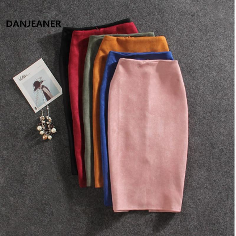 Danjeaner New Women Skirts Summer Plus Size Knee-Length Pencil Skirt Female Vintage Suede Split Skirts Jupe Femme Faldas Mujer