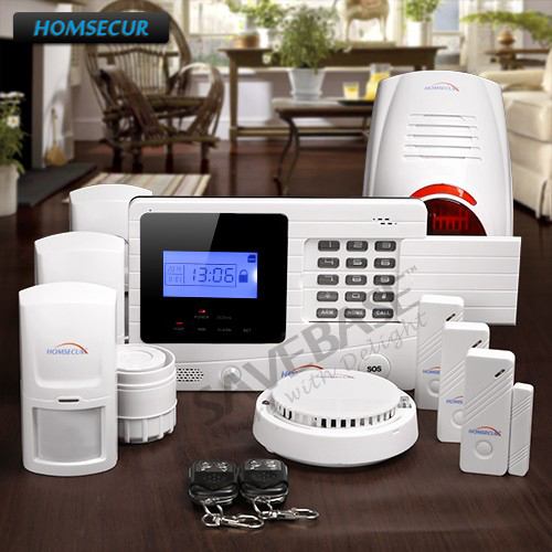 HOMSECUR Wireless GSM SMS Home Security Burglar Alarm System With Flash Siren цена и фото