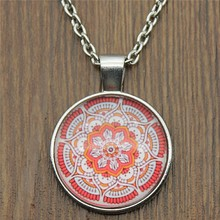 25mm Mandala Pattern Glass Cabochon Necklace & Pendant Jewelry Vintage For Women Statement