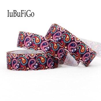 """[IuBuFiGo] cinta de Grosgrain estampada con flores de Cachemira de 10 yardas 7/8 """"22mm y cintas de poliéster con lazo, materiales hechos a mano DIY 1142"""