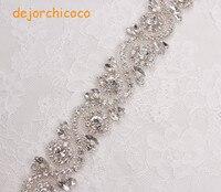 Handmade bridal sash zroszony szycia szkło kryształowe srebrne żelazko na rhinestone aplikacja wykończenia dla suknia ślubna [dejorchicoco]