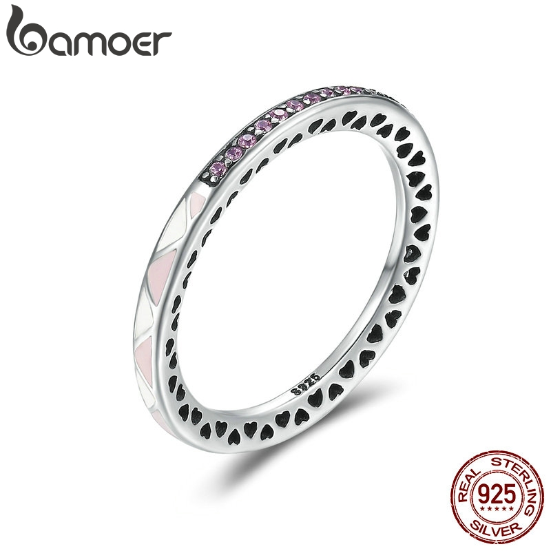 BAMOER New Arrival 925 Sterling Silver Puzzle Romance Radiant Heart Finger Rings
